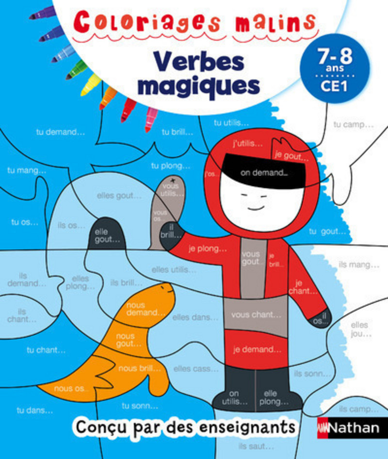 Coloriages malins - Conjugaison magique CE1, 7/8 ans