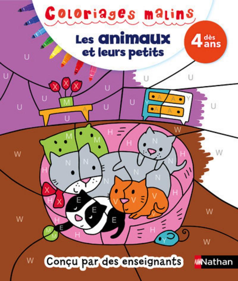 Coloriages malins Les animaux et leurs petits - Dès 4 ans