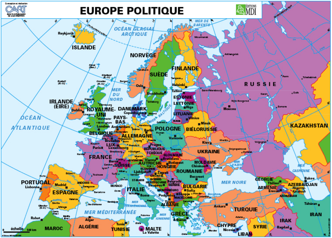 Carte murale L'Europe Relief - L'Europe politique