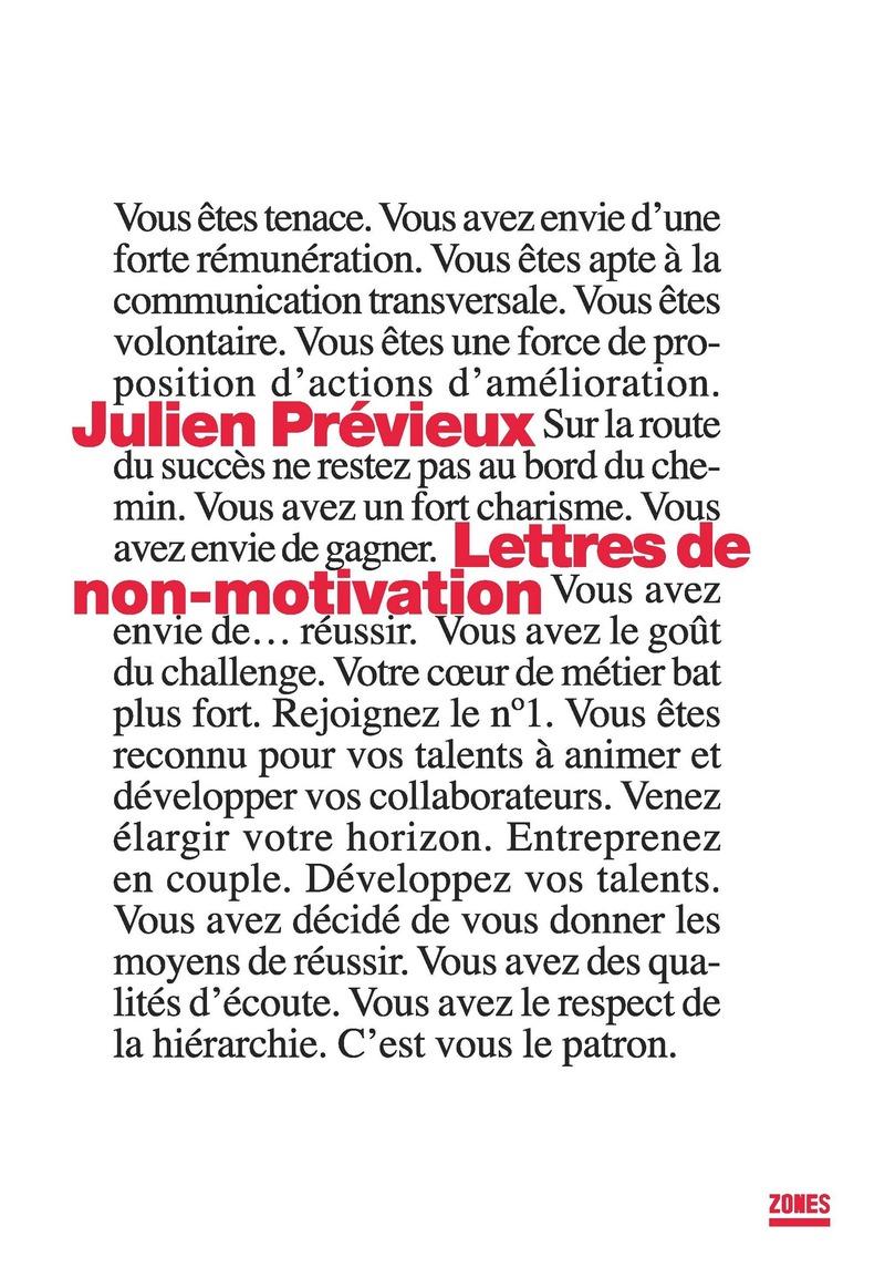 Lettres de non-motivation - Julien PRÉVIEUX