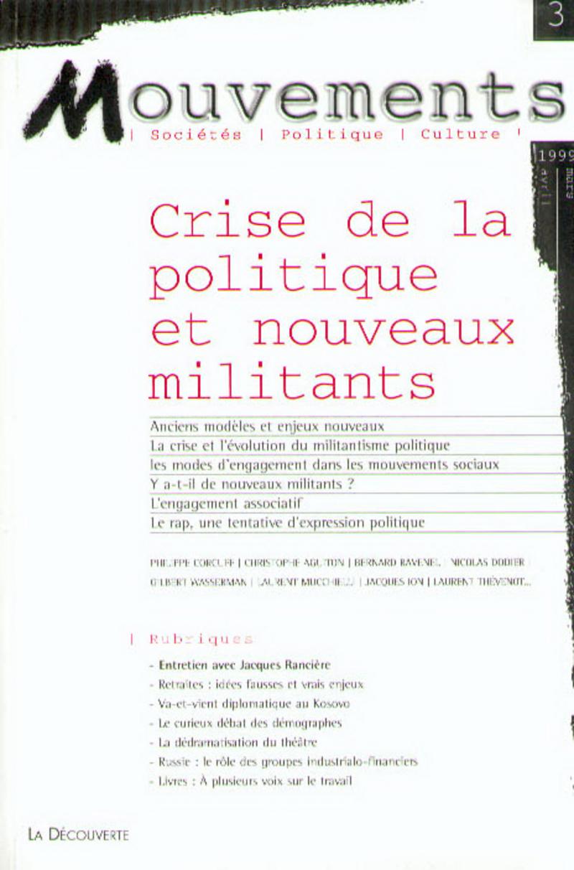 Crise de la politique et nouveaux militants -  REVUE MOUVEMENTS