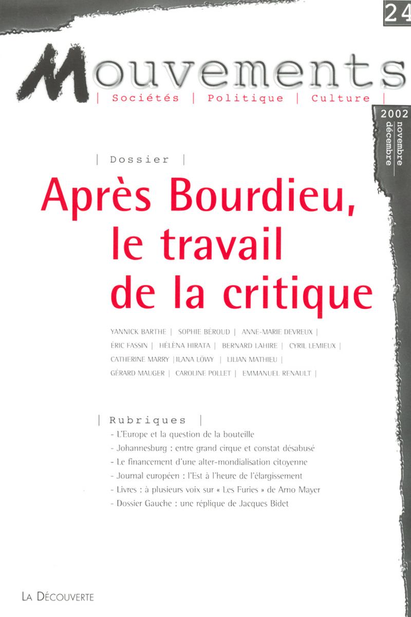 Après Bourdieu, le travail de la critique -  REVUE MOUVEMENTS