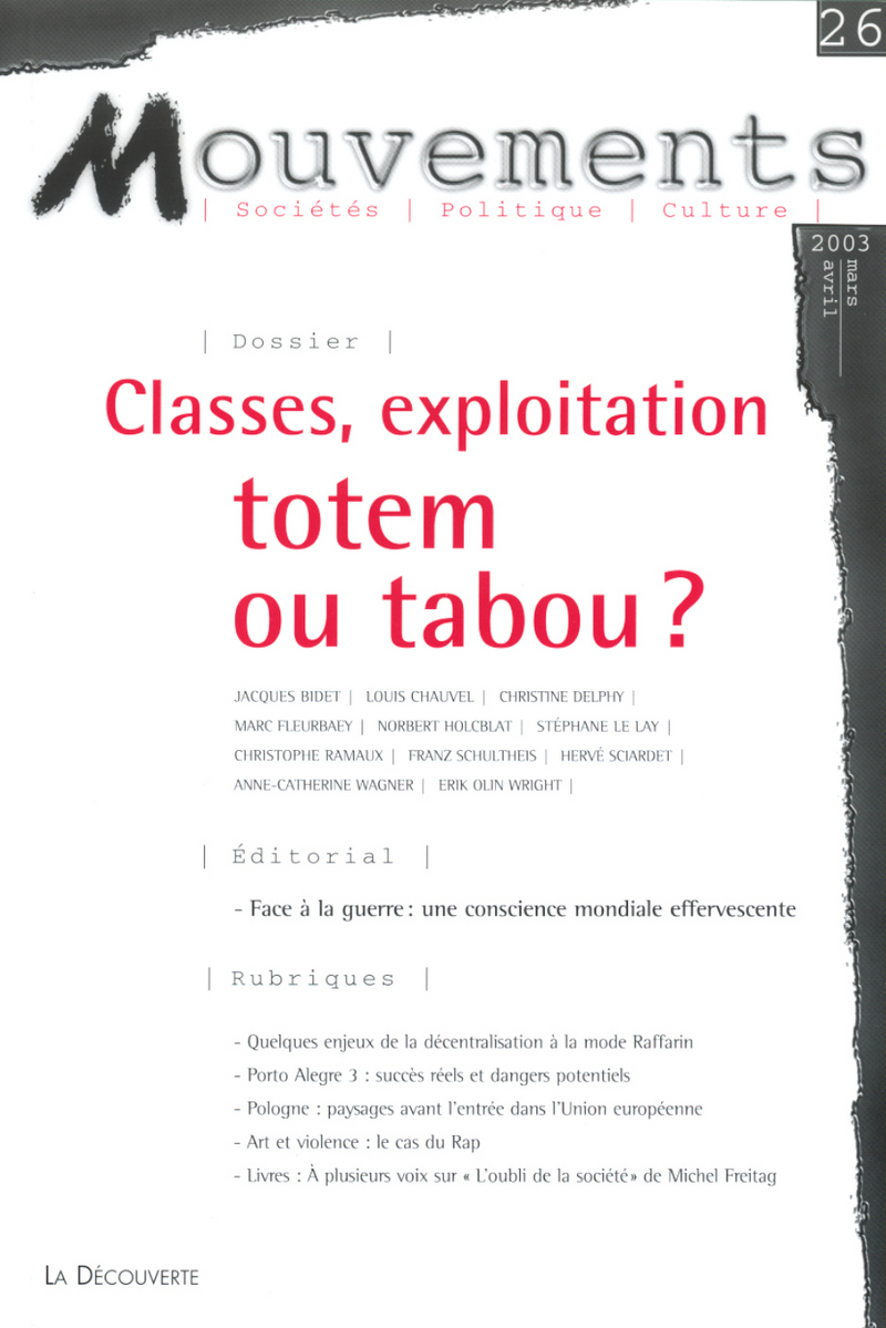 Classes, exploitation : totem ou tabou ? -  REVUE MOUVEMENTS