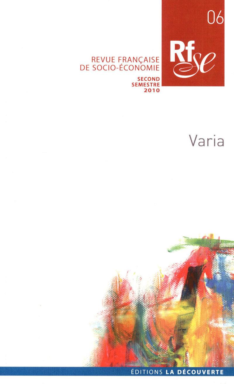 Varia -  REVUE FRANÇAISE DE SOCIO-ÉCONOMIE