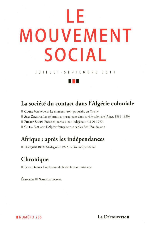 La société du contact dans l\'Algérie coloniale