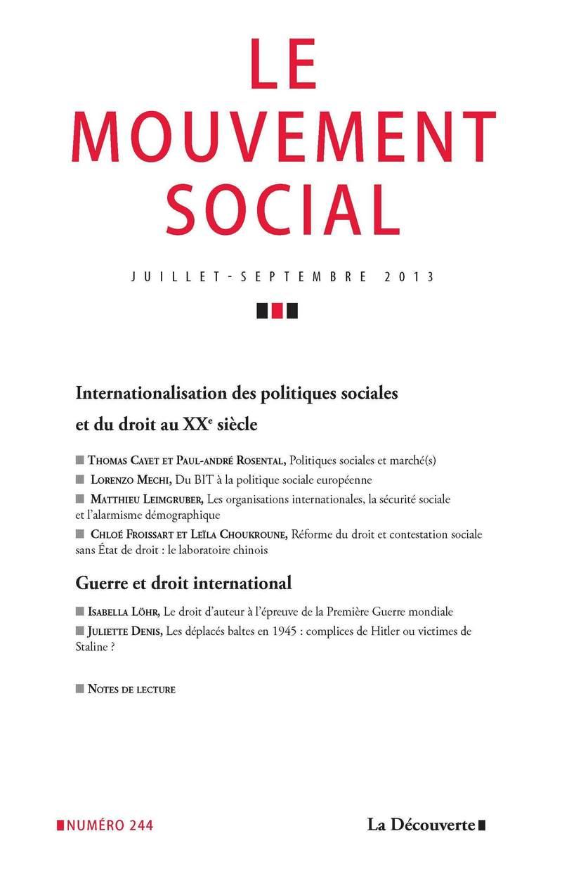 Internationalisation des politiques sociales et du droit au XXe siècle -  REVUE LE MOUVEMENT SOCIAL