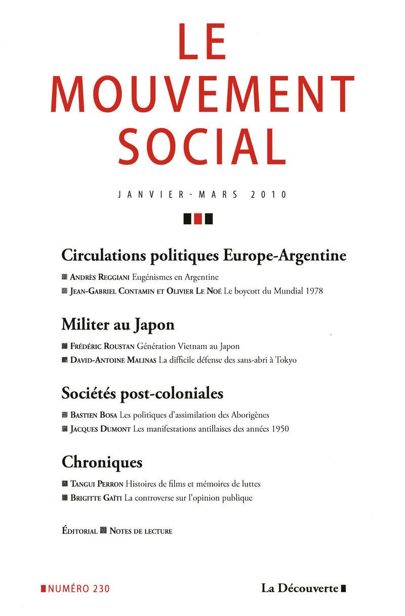 Circulations politiques Europe-Argentine / Militer au Japon / Sociétés post-coloniales