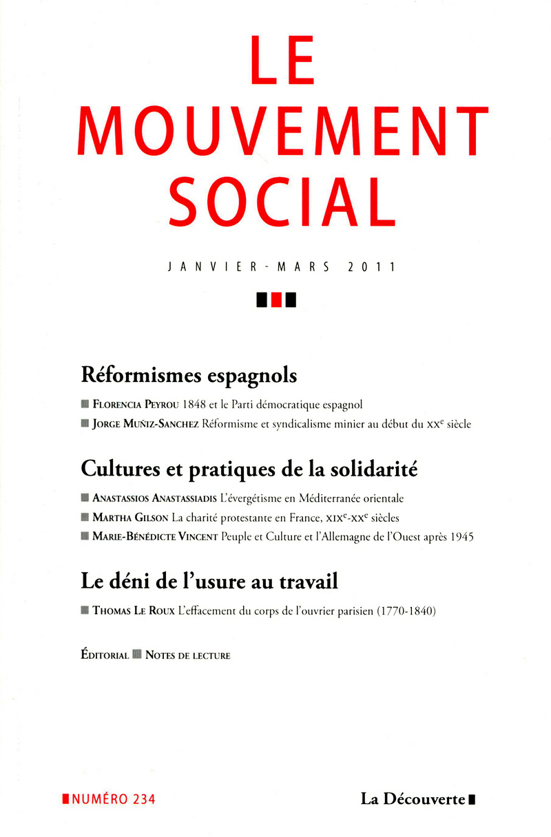 Varia. Réformismes espagnols. Cultures et pratiques de la solidarité. Le déni de l'usure au travail